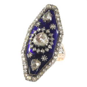 Magnificent Victorian rose cut diamond ring with blue enamel