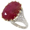 Magnificent platinum Art Deco diamond ring with huge untreated ruby of 13.5 crt