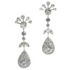 Vintage long pendent platinum cocktail ear jewels abundantly set with diamonds